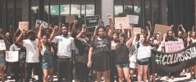 June 19th, 2017 -- Community organizers held a demonstration outside of the Franklin County Courthouse while Deandre Miles of the #BlackPride4 awaited bond and release from jail. Protesters called to condemn the wrongful charges being pressed against the#BlackPride4, namely Deandre's heinous felony charge of aggravated robbery.